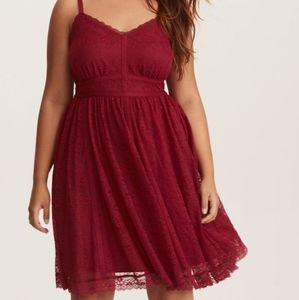Torrid red lace skater dress NWT